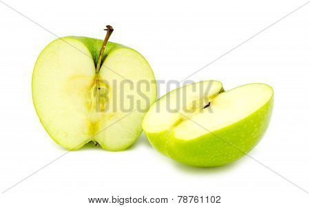 Chopped Halves Of Fresh Organic Green Granny Smith Apple