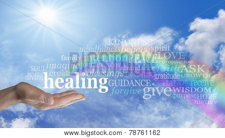 Healing Rainbow Sky Word Cloud -