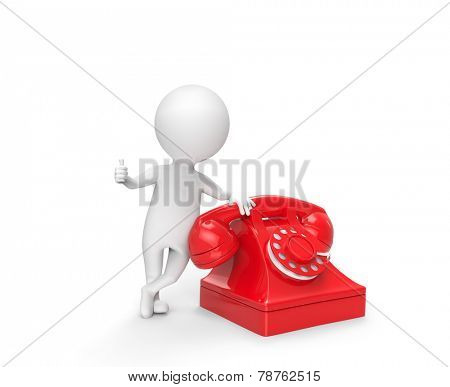 Little white man stand leaning on the phone
