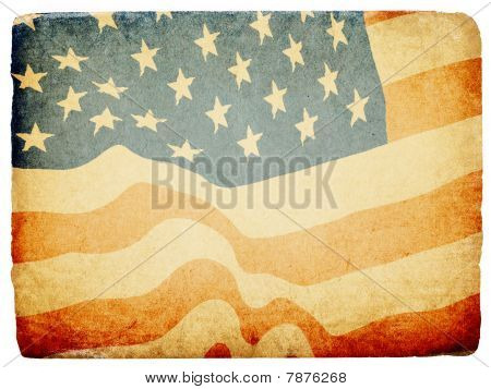 Grunge American Patriotic Theme Background. Isolated On White, Torn Edges.