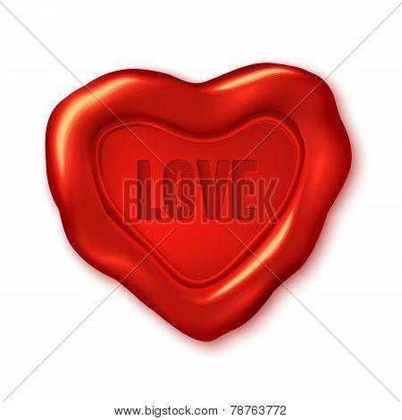 Red Vector Wax Seal, Heart Shape