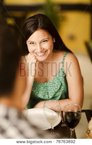 Beautiful Young Woman Smiling At Her Partner