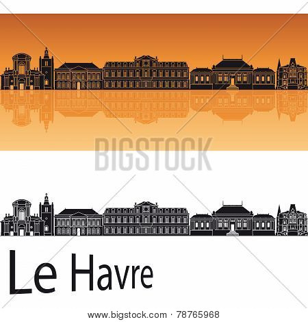 Le Havre Skyline In Orange Background