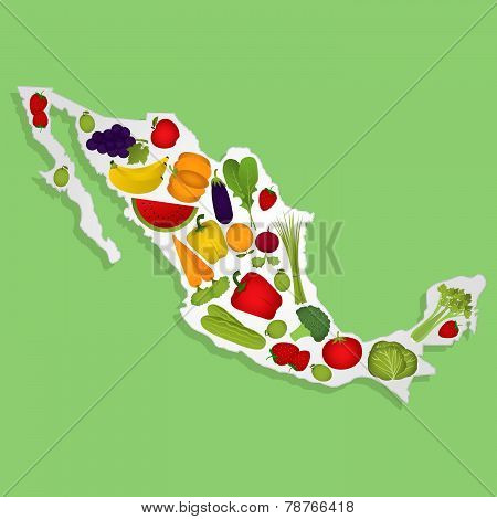 Map Of Mexico With Fruits