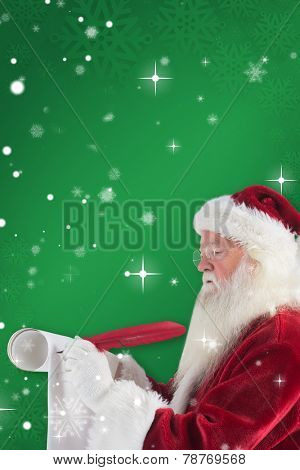 Father Christmas writes a list against green snowflake background