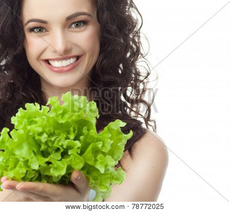 closeup portrait of attractive  caucasian smiling woman brunette isolated on white studio shot lips toothy smile face hair head and shoulders looking at camera tooth rsting salat