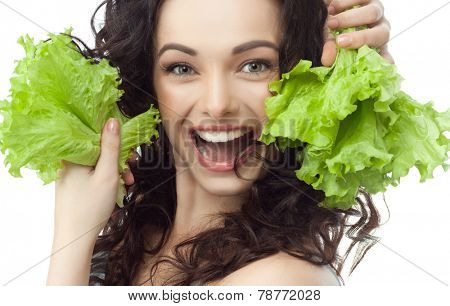 closeup portrait of attractive  caucasian smiling woman brunette isolated on white studio shot lips toothy smile face hair head and shoulders looking at camera tooth eating salat