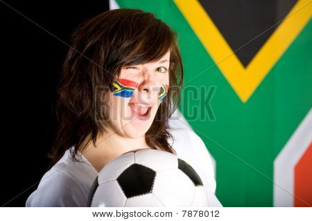 Happy Soccer Supporter, Female With Flags On Her Cheeks