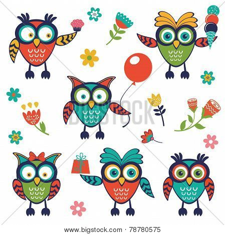 A stylish collection of cute, funny owls