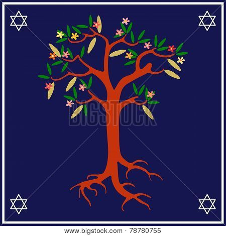 Blooming tree on blue-white background with six-pointed stars