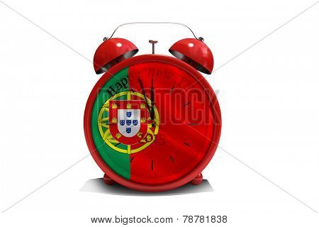 Happy new year in red alarm clock against digitally generated portugese national flag