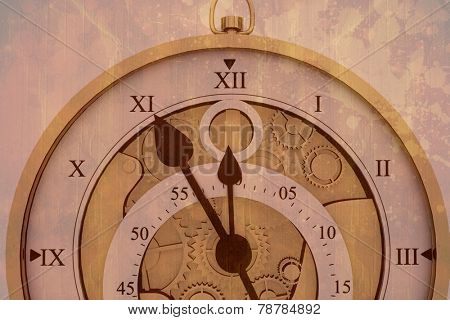 Pocketwatch against brown paint splashed surface