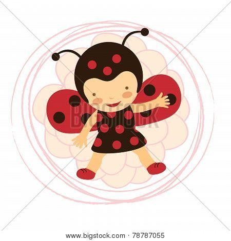 Beautiful ladybug baby card