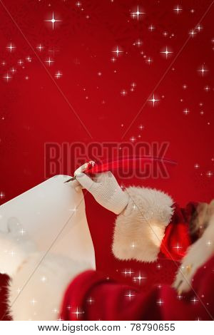 Santas hand writing list with a quill against red snowflake background
