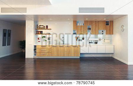 modern kitchen interior (3D illustration)