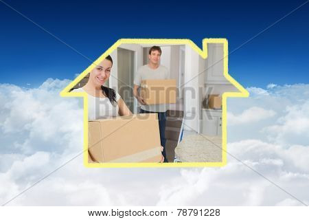 Man and woman relocating against bright blue sky over clouds