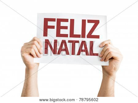 Merry Christmas (in Portuguese) card isolated on white background