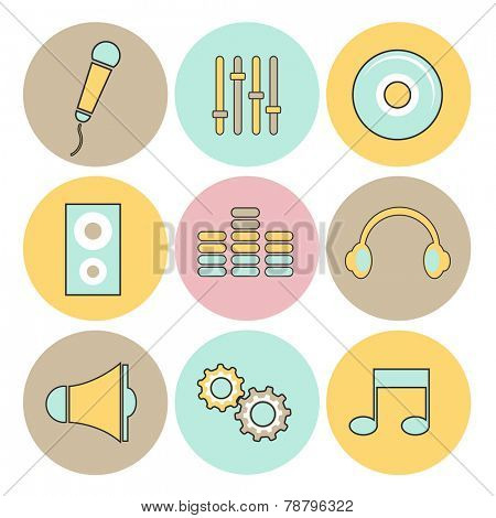 Set of nine colorful rounded musical web icons on white background.