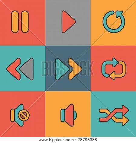 Set of nine media web icons on colorful background.