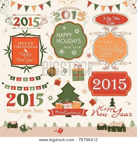 Happy New Year and Merry Christmas celebration label, sticker or tag with collection of ornaments.
