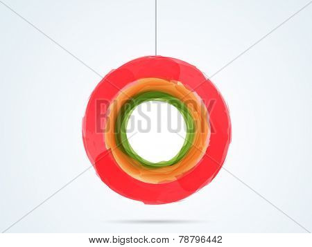 Splash red, orange and green color in hanging circle shape on shiny sky blue background.