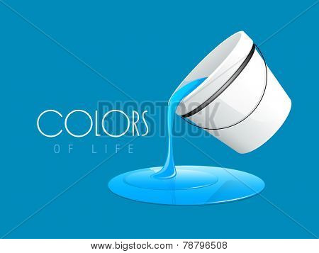 Blue color paint pouring out from paint bucket and stylish text of Colors on sky blue color background.