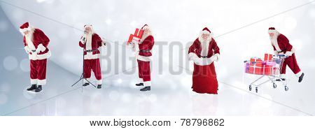 Composite image of different santas against lights twinkling in room