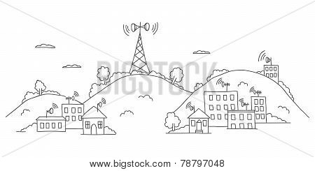 Transmission tower on landscape with signal waves