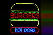 stock photo of hot dogs  - neon sign of hamburger  - JPG