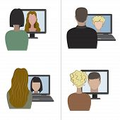 picture of video chat  - Illustration of two pair having a video chat through the internet - JPG