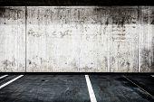 picture of concrete  - Parking garage underground interior background or texture - JPG