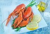 foto of crawfish  - boiled crawfish with fresh lemon on the plate - JPG