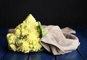 image of romanesco  - Romanesco broccoli on wooden table - JPG
