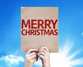 stock photo of merry chrismas  - Merry Christmas card with beautiful day - JPG
