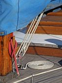 Details of yacht rope around cleat poster