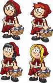 stock photo of little red riding hood  - Little Red Riding Hood with four different hairstyles - JPG