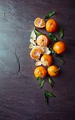 picture of slating  - Mandarin oranges on a slate surface - JPG