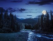 pic of full_moon  - collage landscape with pine trees in mountains and a river in front flowing to lake at night in full moon light - JPG