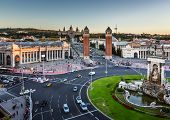 Aerial View On Placa Espanya And Montjuic Hill With National Art Museum Of Catalonia, Barcelona, Spa poster