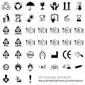 image of dust-bin  - Useful symbols for industry that can be placed on packaging to provide information about the containing objects - JPG