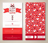 image of greeting card design  - Beautiful greeting or invitation cards with heart pattern - JPG