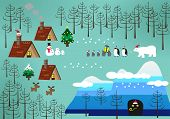 stock photo of christmas theme  - Landscape of Christmas theme with penguin  - JPG