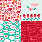image of i love you mom  - Seamless patterns of Valentine symbols and label I Love You - JPG