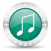pic of christmas song  - music green icon - JPG