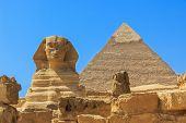 image of the great pyramids  - The Sphinx and Pyramid of Khafre - JPG