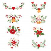 pic of christmas flower  - Colorful Christmas banners and laurels with flowers - JPG