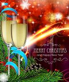 foto of winterberry  - Two glasses of champagne ribbon and fir tree branches on red Christmas background - JPG