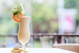 image of cocktail menu  - Milk cocktail with orange and carom - JPG