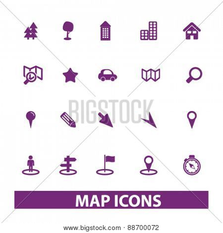 map, navigation icons, signs, illustrations set, vector