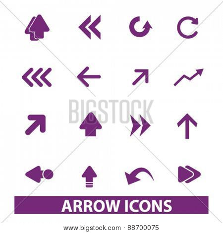 arrow, direction, icons, signs, illustrations set, vector